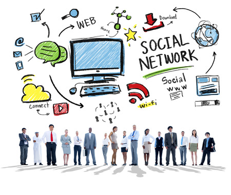 business media: Social Network Social Media Business People Corporate Concept Stock Photo