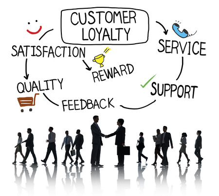 customer support: Customer Loyalty Satisfaction Support Strategy Concept Stock Photo