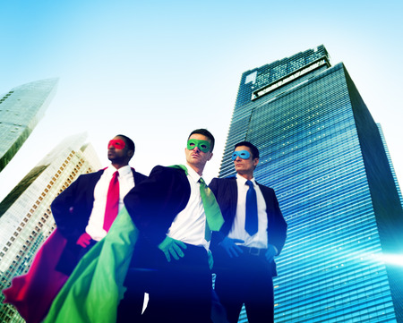 Superhero Business People Strength Cityscape Concept Stock Photo