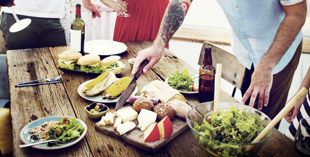 beverage decoration: Food Table Healthy Delicious Organic Meal Concept Stock Photo