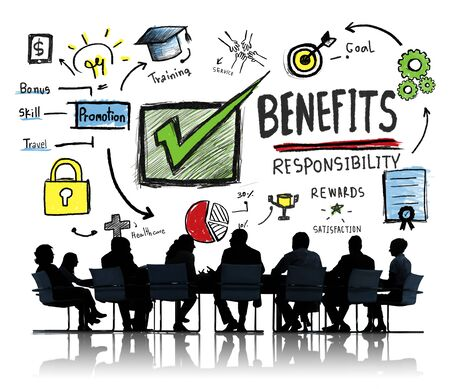 gain: Benefits Gain Profit Earning Income Business Meeting Concept