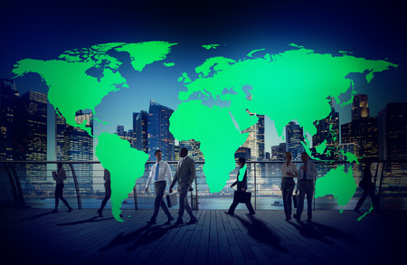 world map countries: Green Business Environment Global Conservation Concept Stock Photo