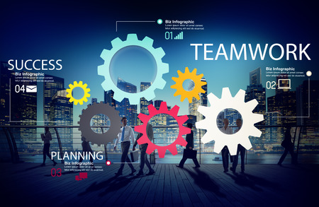 united people: Teamwork Team Group Gear Partnership Cooperation Concept
