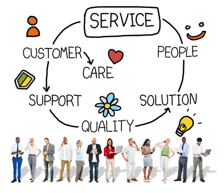 Customer Satisfaction Service Hospitality Support Concept Stockfoto
