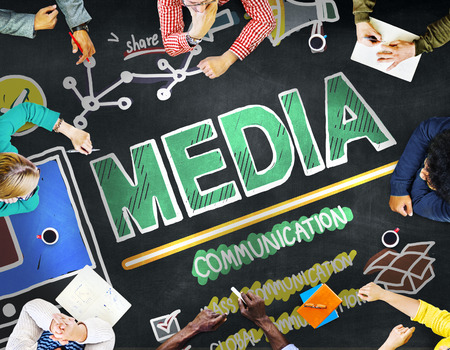 Media Devices Mess Communication Multimedia Concept Banco de Imagens