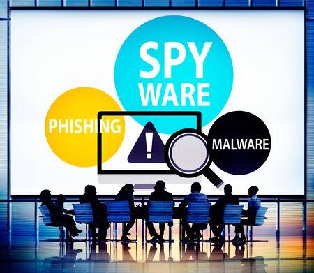 phishing: Spyware Hacking Phishing Malware Virus Concept Stock Photo