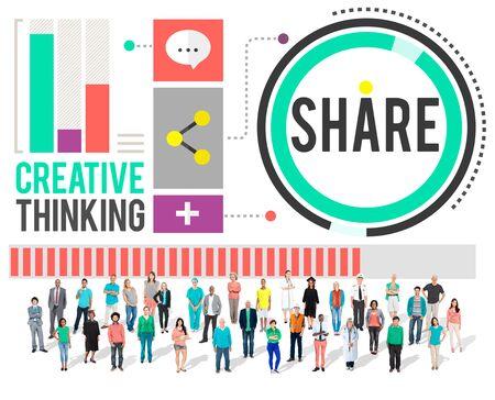pensamiento creativo: Compartir Pensamiento creativo Concepto de la tecnología de intercambio