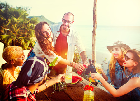 summer picnic: Beach Party Dinner Friendship Happiness Summer Concept
