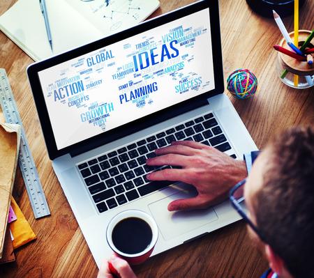 creativity: Businessman Planning Laptop Vision Creativity Ideas Concept Stock Photo