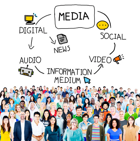 information medium: Digital Media Information Medium News Concept Stock Photo