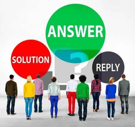 facing backwards: Answers Solution Reply Response Problems Concept Stock Photo