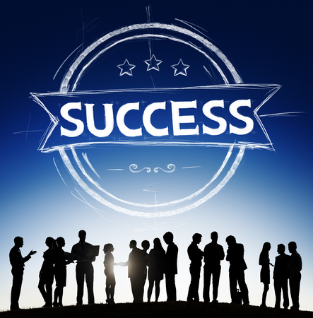 Silhouette of people with success concept Stock Photo - 108597274