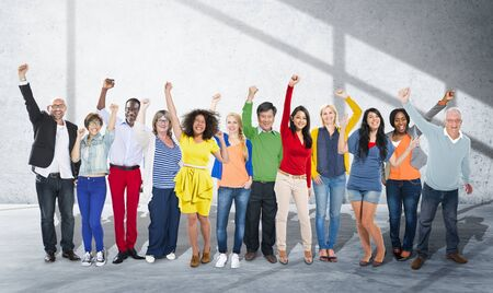 happiness or success: Celebration Community Cheerful Happiness Success Concept Stock Photo