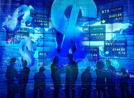 stock market exchange: Stock Market Exchange Dollar Currency Colleague Team Occupation Concept