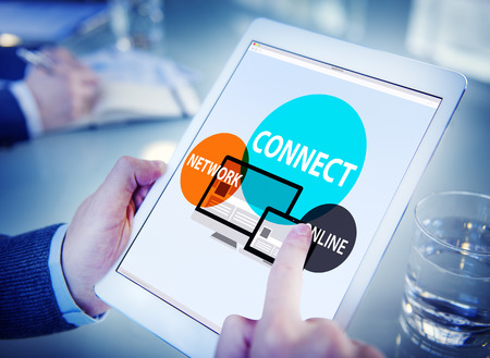 digital learning: Connect Network Integrated Online Web Concept Stock Photo