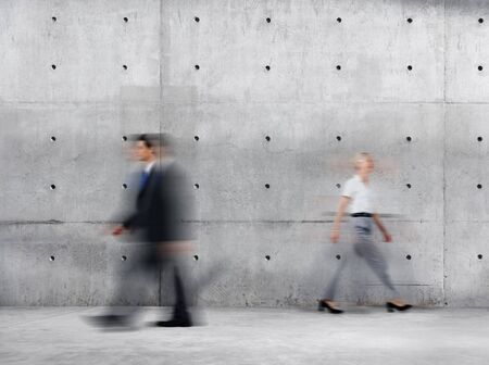 office building: Business People Walking Blurred Motion Sparse Empty Concept