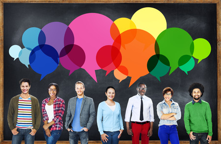 college students: Casual People Message Talking Communication Concept Stock Photo