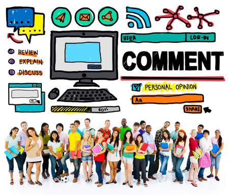 comment: Comment Post Share Social Media Concept Stock Photo