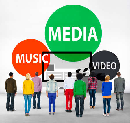 facing backwards: Media Music Video Technology Communication Concept Stock Photo