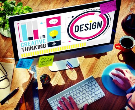 grafik: Design-Kreativität-denkende Ideen Designer-Konzept Lizenzfreie Bilder