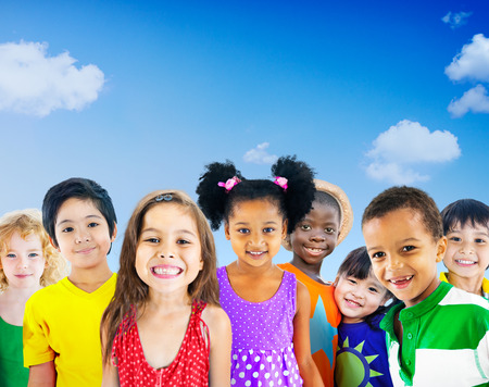 kids playing: Diversity Children Friendship Innocence Smiling Concept Stock Photo