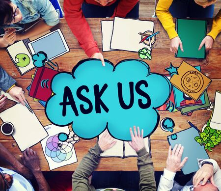 us team: Ask us Contact Information Assistance Advice Concept