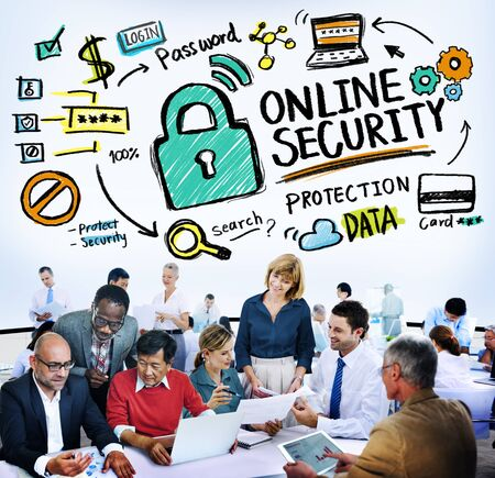 online security: Online Security Password Information Protection Privacy Internet Concept