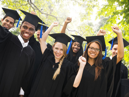 college graduation: Diversity Students Graduation Success Celebration Concept