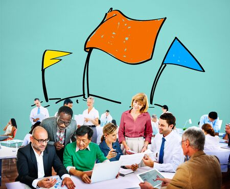 business solution: Race Aim Goal Challenge Compitition Solution Concept Stock Photo