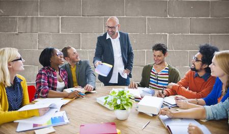 team leadership: Teamwork Casual Leadership Brainstorming Learning Concept Stock Photo