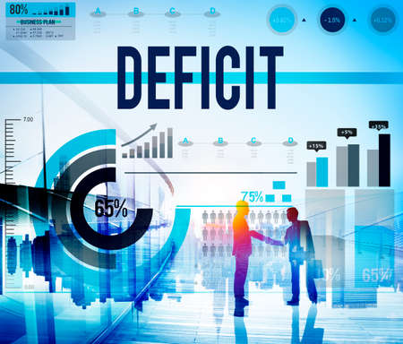 deficit: Deficit Crisis Financial Economic Bankruptcy Concept Stock Photo