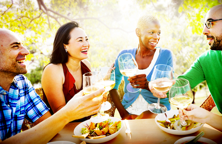 dining out: Diversity Friendship Dining Hanging out Luncheon Concept