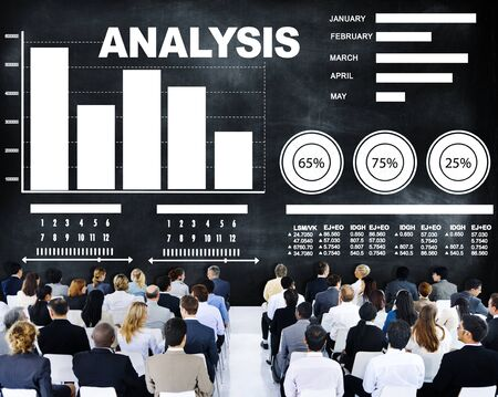 bar graph: Analysis analyzing information bar graph data concept Stock Photo