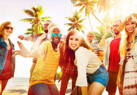 Friends Summer Beach Party Dancing Concept