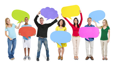 Group Friends Opinion Speech Bubbles Expression Concept Stockfoto
