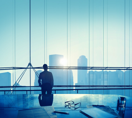 aspirations: Businessman Thinking Aspirations Goals Contemplating Concept