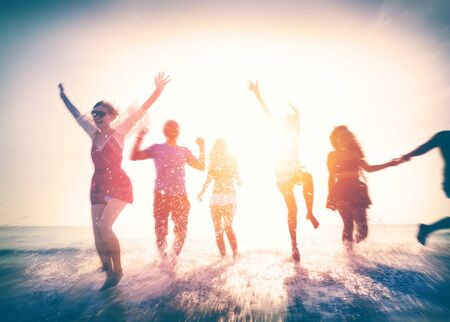 human energy: Friendship Freedom Beach Summer Holiday Concept