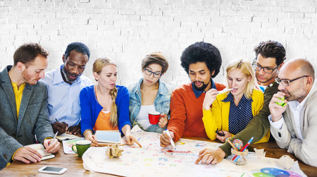 community group: Brainstorming Meeting Communication Teamwork Concept Stock Photo