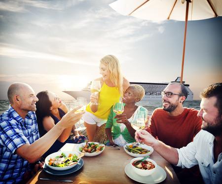 dinner cruise: Friends Friendship Outdoor Dining Beach Concept