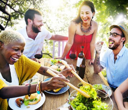 hanging out: Friends Outdoors Vacation Dining Hanging out Concept