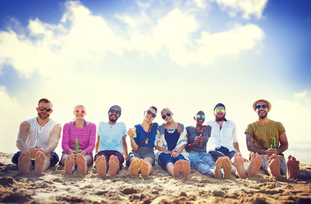 chilling: Friends Beach Vacation Party Chilling Concept