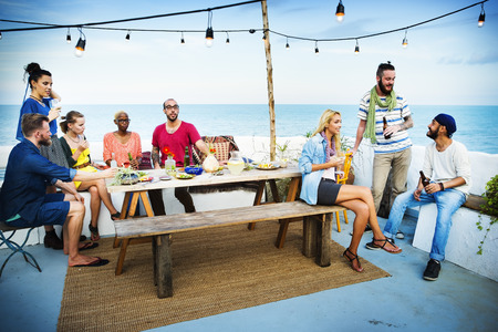 Diverse Summer Beach Party Roof Top Fun Concept Stockfoto