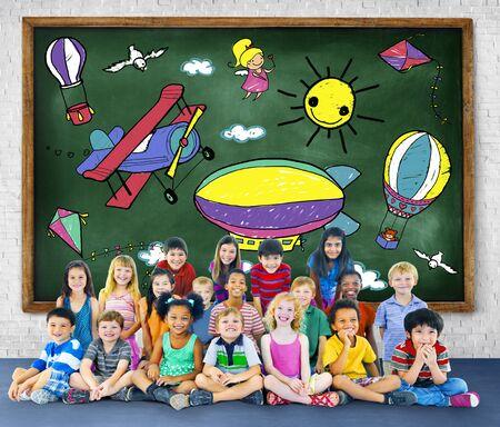 playful: Drawing Artistic Childhood Kids Playful Concept