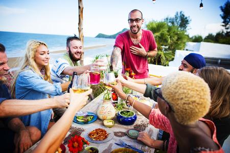 outdoor event: Beach Cheers Celebration Friendship Summer Fun Dinner Concept