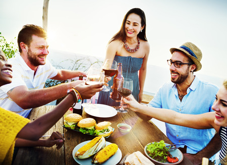 fun: Beach Cheers Celebration Friendship Summer Fun Dinner Concept