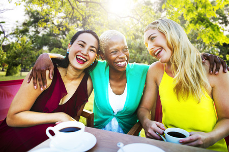 woman laughing: Girls Coffee Break Talking Chilling Concept