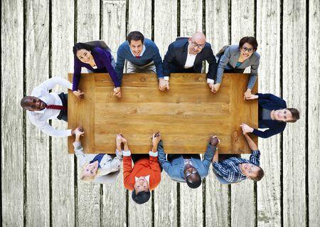 manos sosteniendo: Gente de negocios del equipo Conexi�n Uni�n Concept Foto de archivo