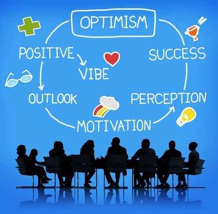 optimismo: Optimismo positivo de Outlook Vibe Percepción Vision Concept