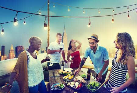 다양한 여름 파티 옥상 재미 개념 스톡 콘텐츠