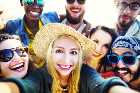 fun: Diverse People Beach Summer Friends Fun Selfie Concept